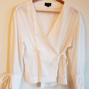 Topshop White Front Wrap Tie Blouse Top
